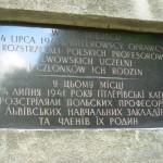 Tablica pamiątkowa w języku polskim i ukraińskim