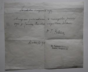 Zaświadczenie lekarskie wystawione przez Tadeusza Żeleńskiego w 1915 roku, fot. Monika Śliwińska