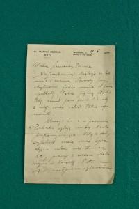 List Tadeusza Żeleńskiego, ze zbiorów Wiesława Uchańskiego, fot. Wojciech Pacewicz