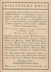 Reklama Biblioteki Boya zamieszczona w Piekle kobiet (1930)